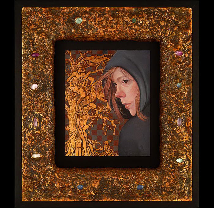 Medieval style frame with treasure and artwork